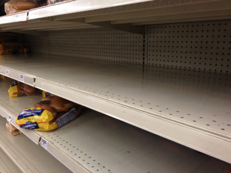 Empty store shelves