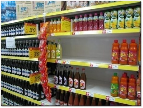 Juice and cordial shelf at a supermarket